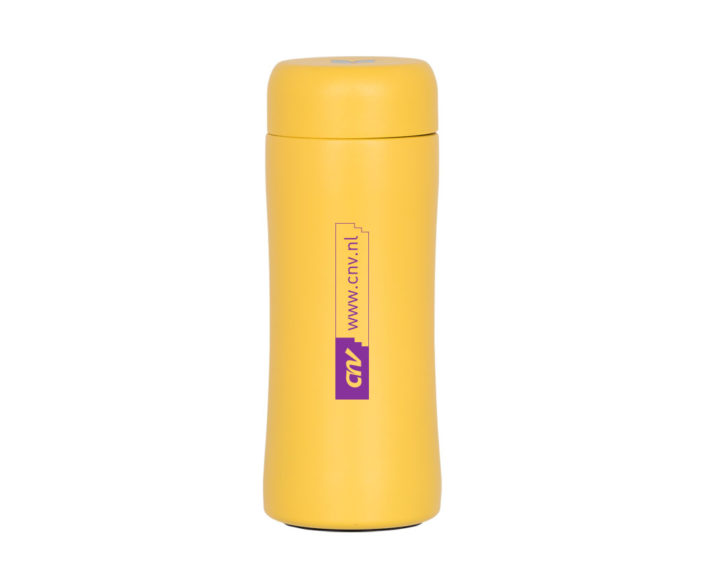 Bedrukte thermos drinkfles tumbler 300ml geel CNV