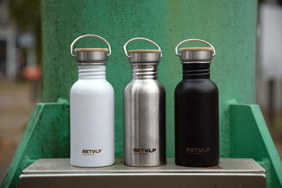 RVS drinkflessen - Retulp Urban 500ml Wit RVS Zwart