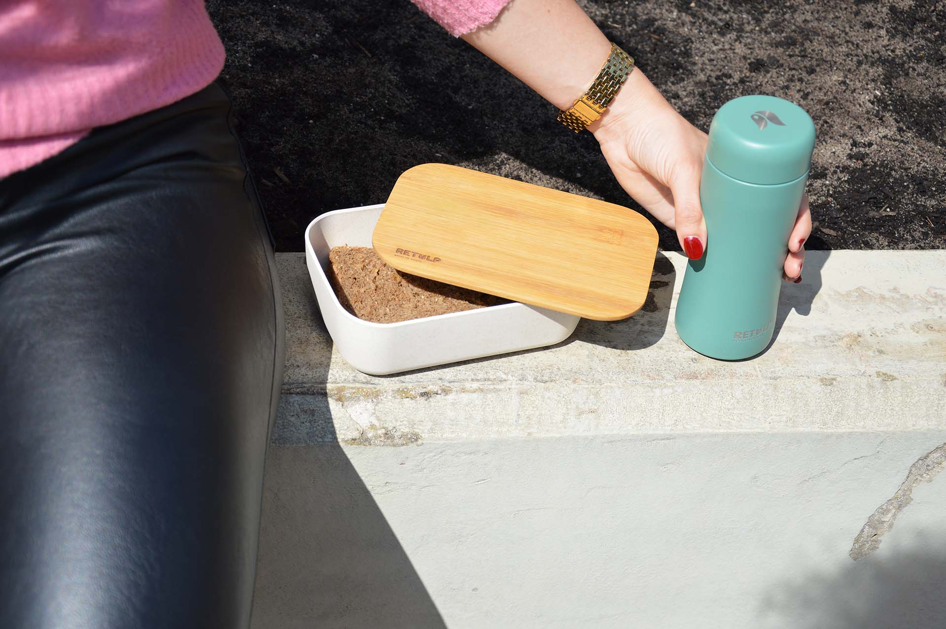 retulp bamboo lunchbox thermosbeker wit